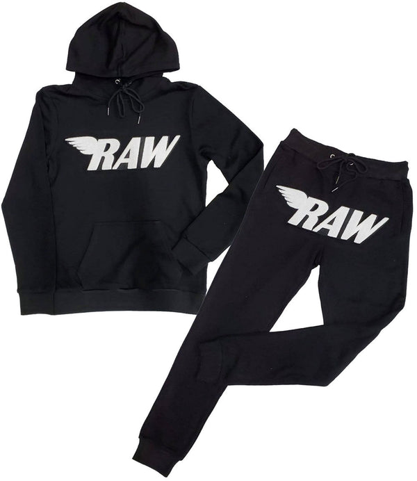 RAW White Chenille Hoodie and Jogger Set - Black Hoodie / Black Jogger