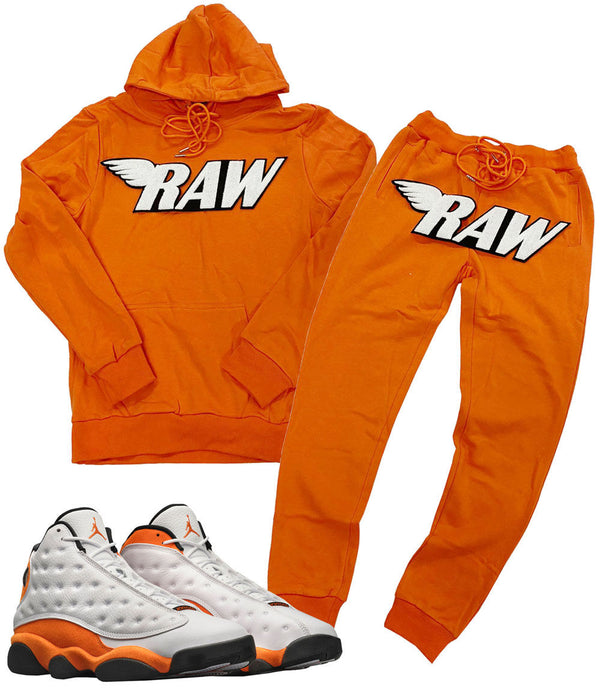 RAW White Chenille Hoodie and Jogger Set - Orange Hoodie / Orange Jogger