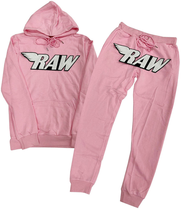 RAW White Chenille Hoodie and Joggers Set - Pink Hoodie / Pink Jogger