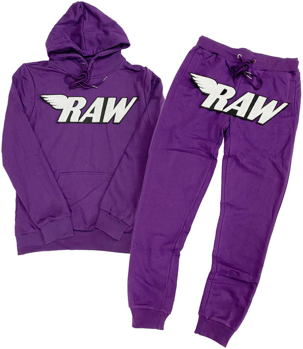RAW White Chenille Hoodie and Joggers Set - Purple Hoodie / Purple Jogger