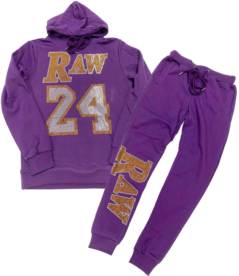 RAW 24 Bling Hoodie and Jogger Set - Purple Hoodie / Purple Jogger