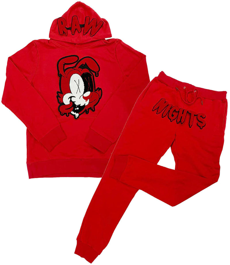 RAW Nights Red Chenille Hoodie and Joggers Set - Red Hoodie / Red Jogger