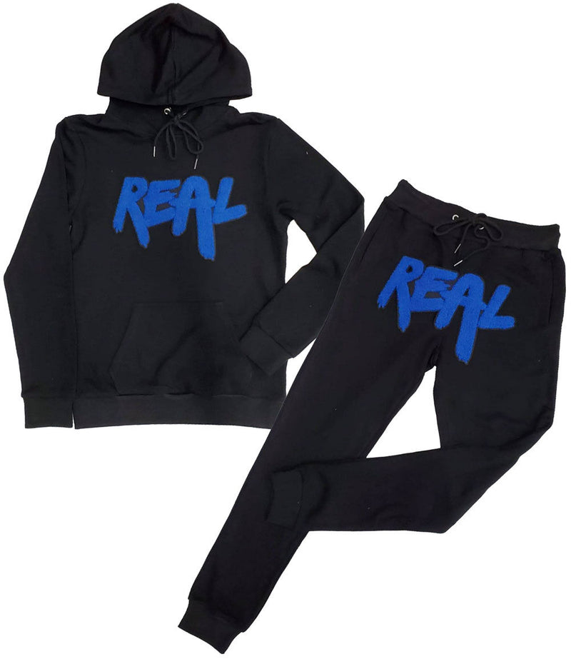 Real Royal Chenille Hoodie and Jogger Set - Black Hoodie / Black Jogger