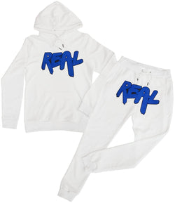 Real Royal Chenille Hoodie and Jogger Set - White Hoodie / White Jogger