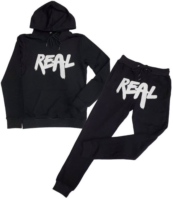 Real White Chenille Hoodie and Jogger Set - Black Hoodie / Black Jogger