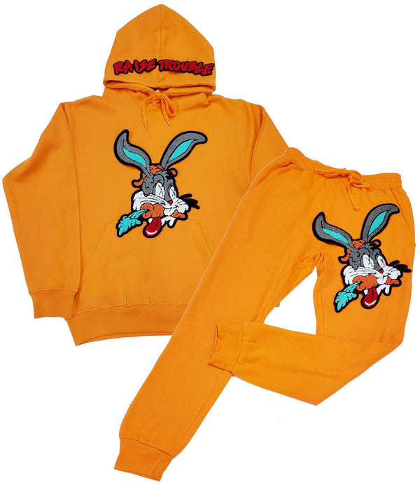 Raise Trouble Bunny Chenille Hoodie and Joggers Set - Orange Hoodie / Orange Jogger