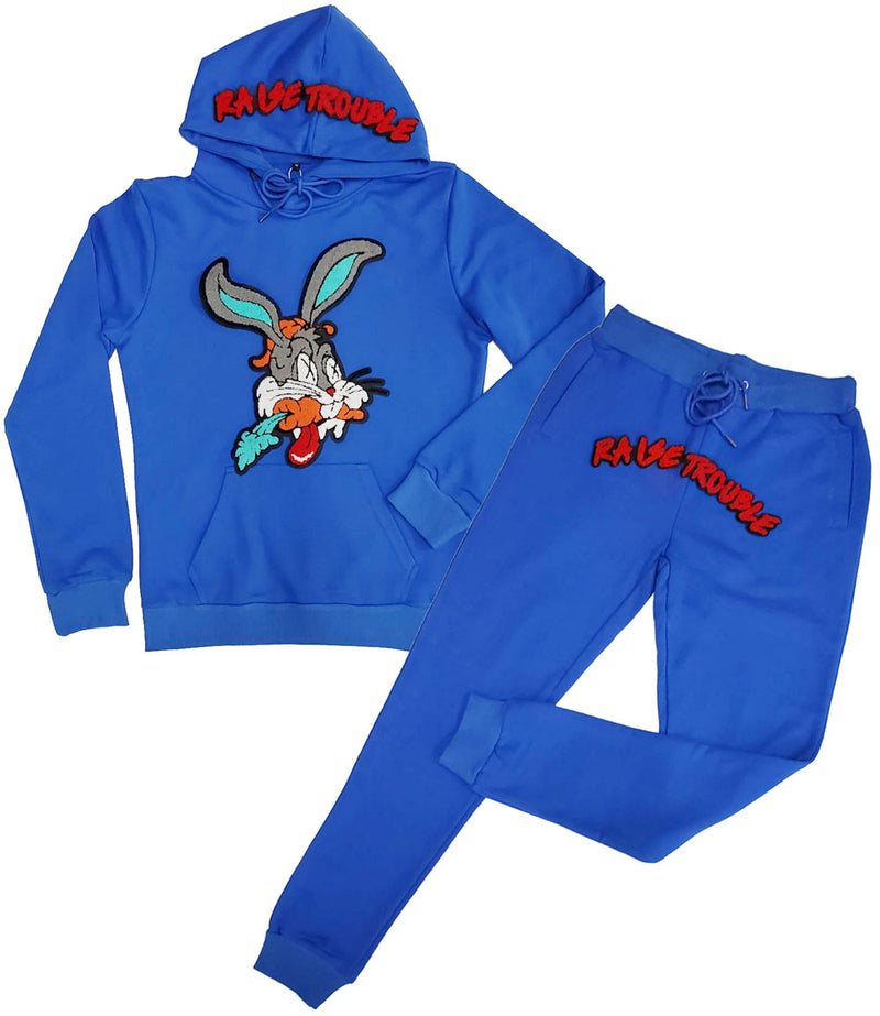 Raise Trouble Bunny Chenille Hoodie and Joggers Set - Royal Hoodie / Royal Jogger