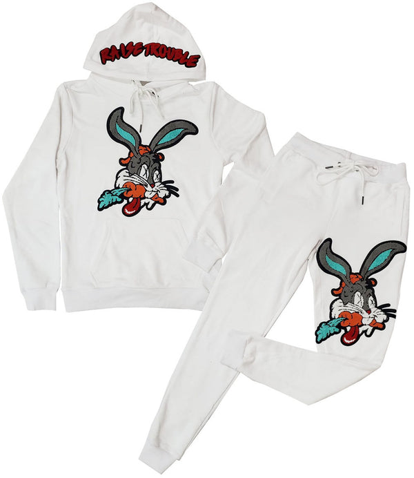 Raise Trouble Bunny Chenille Hoodie and Joggers Set - White Hoodie / White Jogger