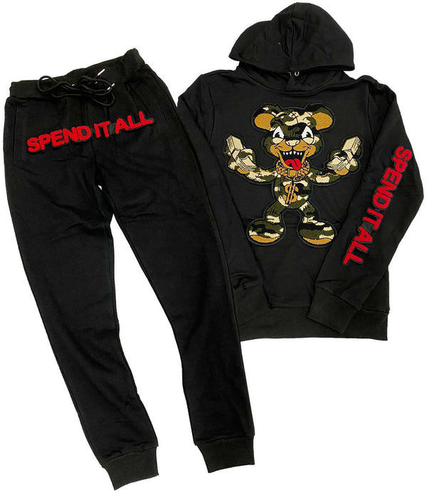 Spend It All Chenille Hoodie and Jogger Set - Black Hoodie / Black Jogger