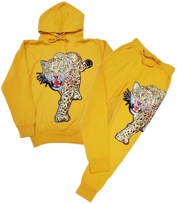 Tiger Hand Made Sequin Hoodie and Joggers Set - Light Gold Hoodie / Light Gold Jogger