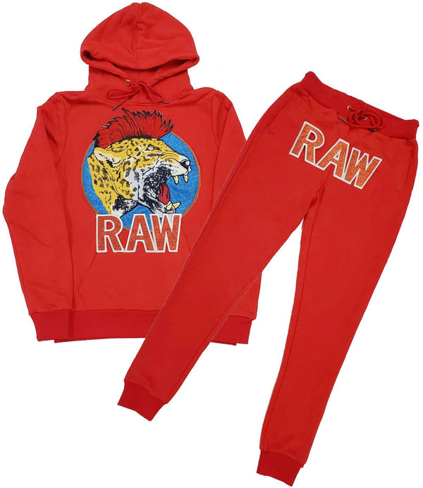 Red Mohawk Tiger Embroidery Patch Hoodie and Joggers Set - Red Hoodie / Red Jogger