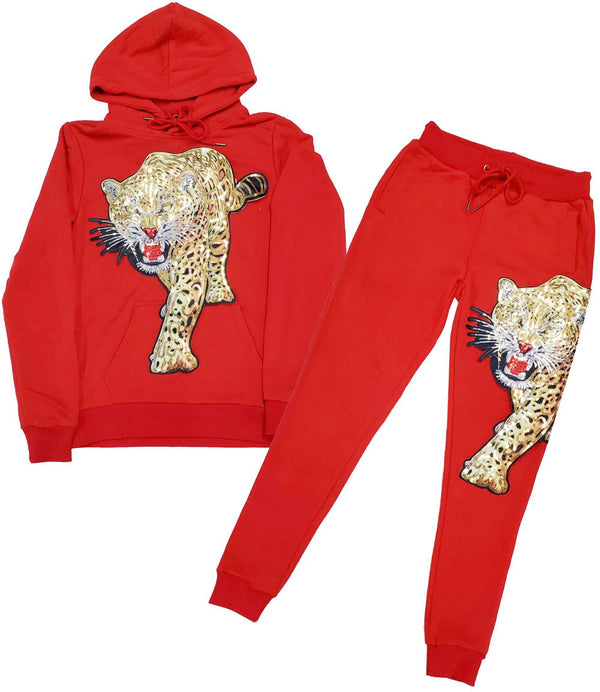 Tiger Hand Made Sequin Hoodie and Joggers Set - Red Hoodie / Red Jogger