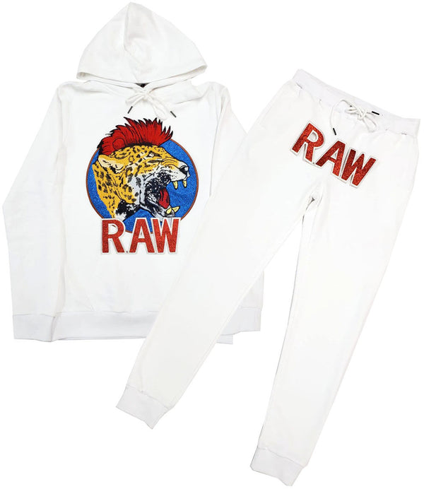 Red Mohawk Tiger Embroidery Patch Hoodie and Joggers Set - White Hoodie / White Jogger