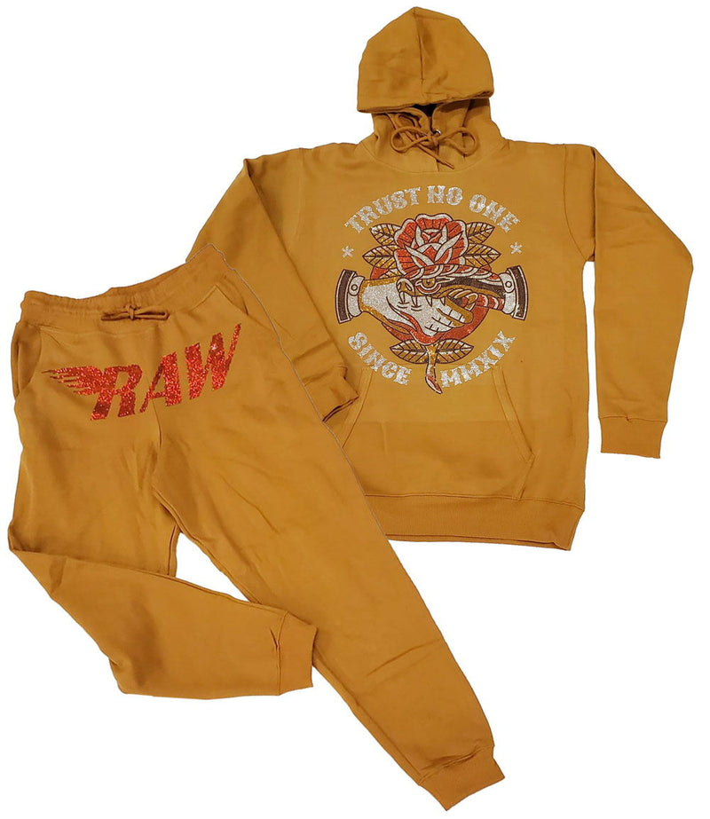 Trust No One Bling Hoodie and RAW Red Bling Joggers Set - Gold Hoodie / Gold Jogger