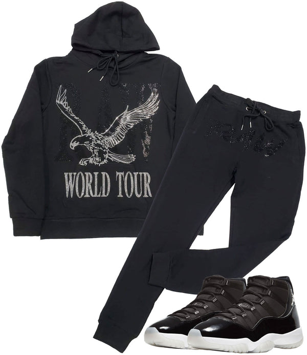 RAW World Tour Black Bling Hoodie and Cursive RAW Black Bling Jogger Set - Black Hoodie / Black Jogger