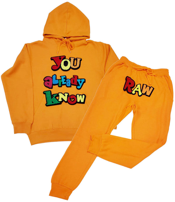 You already know Chenille Hoodie and Joggers Set - Orange Hoodie / Orange Jogger