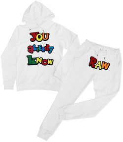 You already know Chenille Hoodie and Jogger Set - White Hoodie / White Jogger