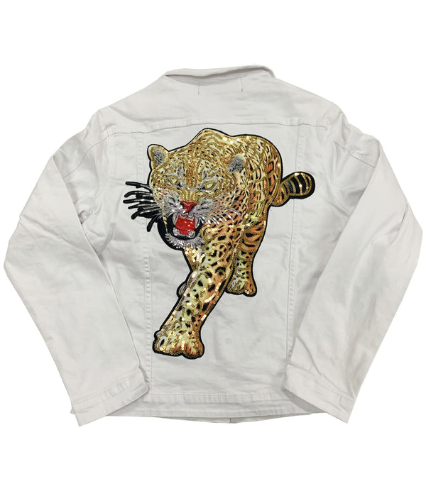 Tiger Sequin Hand Made Denim Jacket