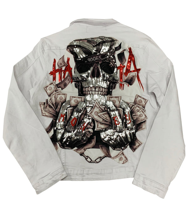 HATA Skull Hand Made Sequin Denim Jacket