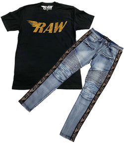 RAW Gold Bling Crew Neck and RAW Tape Gold Bling Denim Jeans Set - Black Tee / Blue Jeans