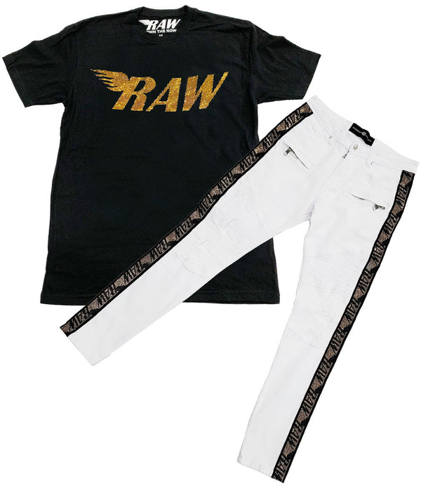 RAW Gold Bling Crew Neck and RAW Tape Gold Bling Denim Jeans Set - Black Tee / White Jeans