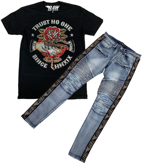 Trust No One Bling Crew Neck and RAW Tape Gold Bling Denim Jeans Set - Black Tee / Blue Jeans