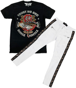 Trust No One Bling Crew Neck and RAW Tape Gold Bling Denim Jeans Set - Black Tee / White Jeans