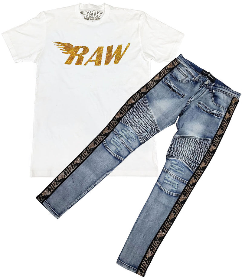 RAW Gold Bling Crew Neck and RAW Tape Gold Bling Denim Jeans Set - White Tee / Blue Jeans