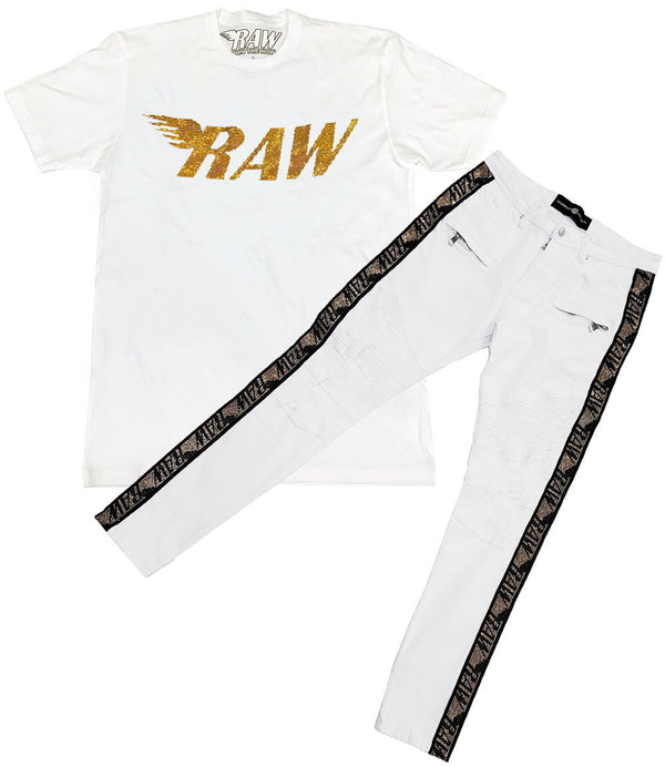 RAW Gold Bling Crew Neck and RAW Tape Gold Bling Denim Jeans Set - White Tee / White Jeans