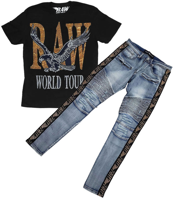 RAW World Tour Gold Bling Crew Neck and RAW Tape Gold Bling Denim Jeans Set - Black Tee / Blue Jeans
