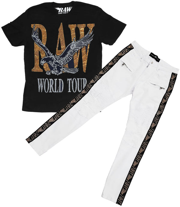 RAW World Tour Gold Bling Crew Neck and RAW Tape Gold Bling Denim Jeans Set - Black Tee / White Jeans