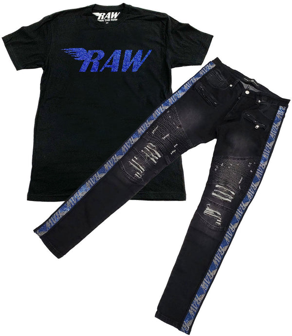 RAW Montana Bling Crew Neck and RAW Tape Blue Bling Denim Jeans Set - Black Tee / Black Jeans