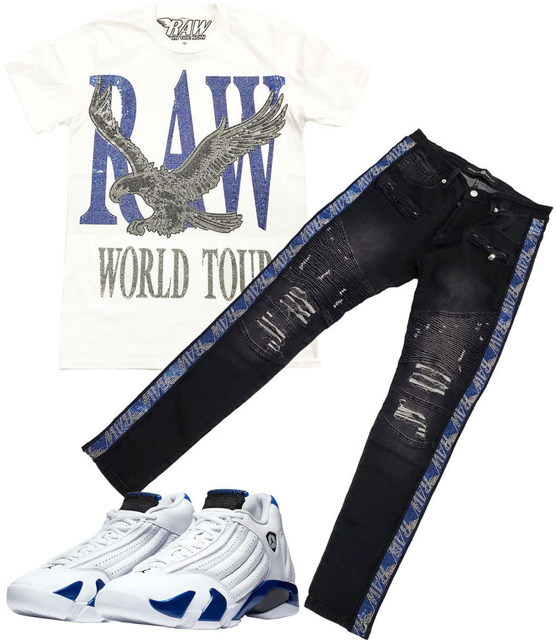 RAW World Tour Blue Bling Crew Neck and RAW Tape Blue Bling Denim Jeans Set - White Tee / Black Jeans