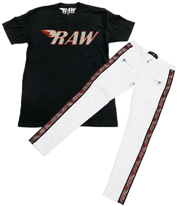 RAW Red/Silver Bling Crew Neck and RAW Tape Red Bling Denim Jeans Set - Black Tee / White Jeans