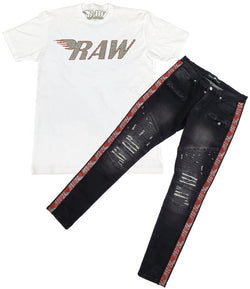 RAW Red/Silver Bling Crew Neck and RAW Tape Red Bling Denim Jeans Set - White Tee / Black Jeans