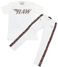 RAW Red/Silver Bling Crew Neck and RAW Tape Red Bling Denim Jeans Set - White Tee / White Jeans