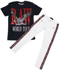 RAW World Tour Red Bling Crew Neck and RAW Tape Red Bling Denim Jeans Set - Black Tee / White Jeans