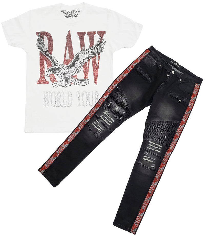 RAW World Tour Red Bling Crew Neck and RAW Tape Red Bling Denim Jeans Set - White Tee / Black Jeans
