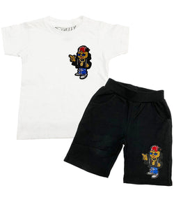 Kids Blessed Chenille Crew Neck and Cotton Shorts Set - White Tees / Black Shorts
