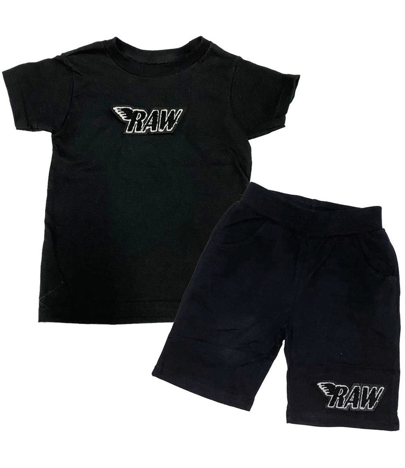 Kids RAW Black Chenille Crew Neck and Cotton Shorts Set - Black Tees / Black Shorts