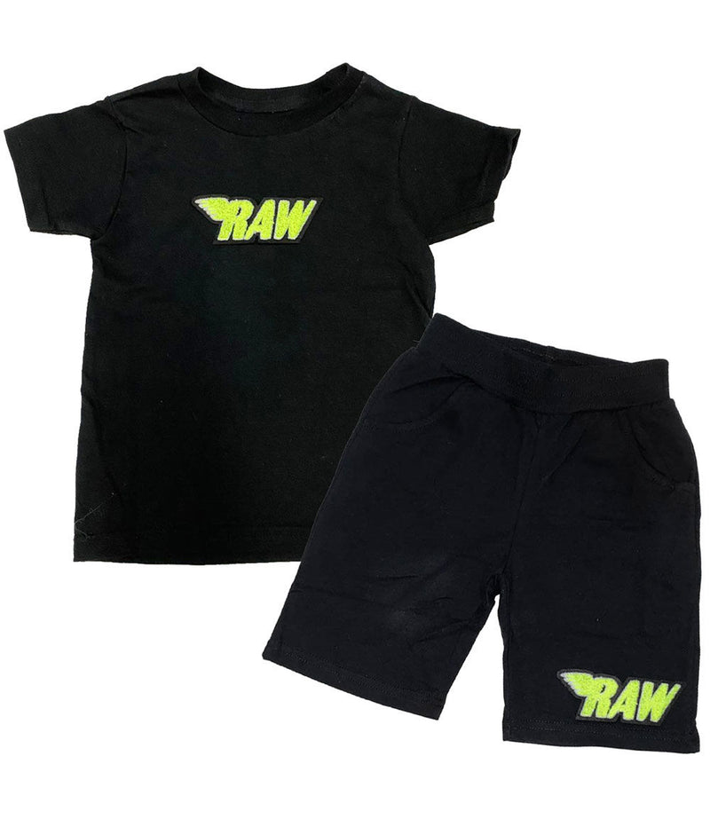 Kids RAW Neon Yellow Chenille Crew Neck and Cotton Shorts Set - Black Tees / Black Shorts