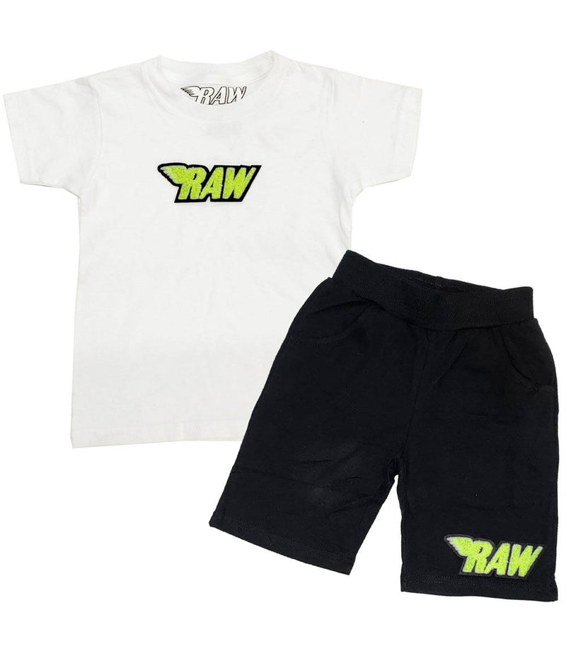 Kids RAW Neon Yellow Chenille Crew Neck and Cotton Shorts Set - White Tees / Black Shorts