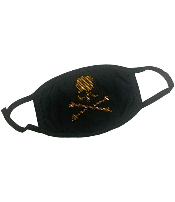 Skull Bones Gold Bling Washable Reusable Face Mask