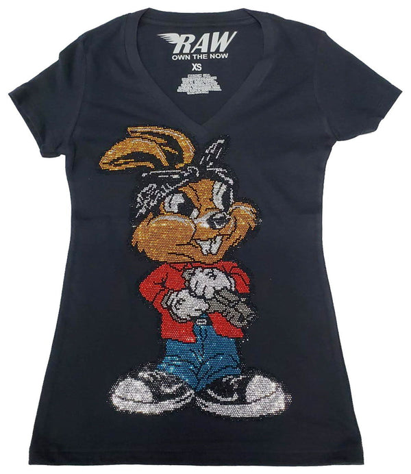 Women's Gun Rabbit Bling V-Neck - Black