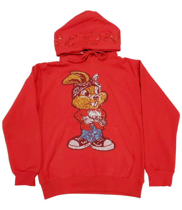 Icon Gun Rabbit Bling Hoodie - Red