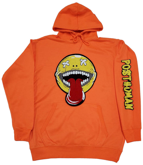 Happy Day Chenille Hoodie - Neon Orange