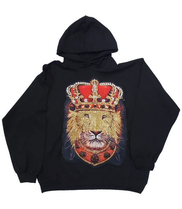 Lion Crown Hand Made Sequin Hoodie - Black