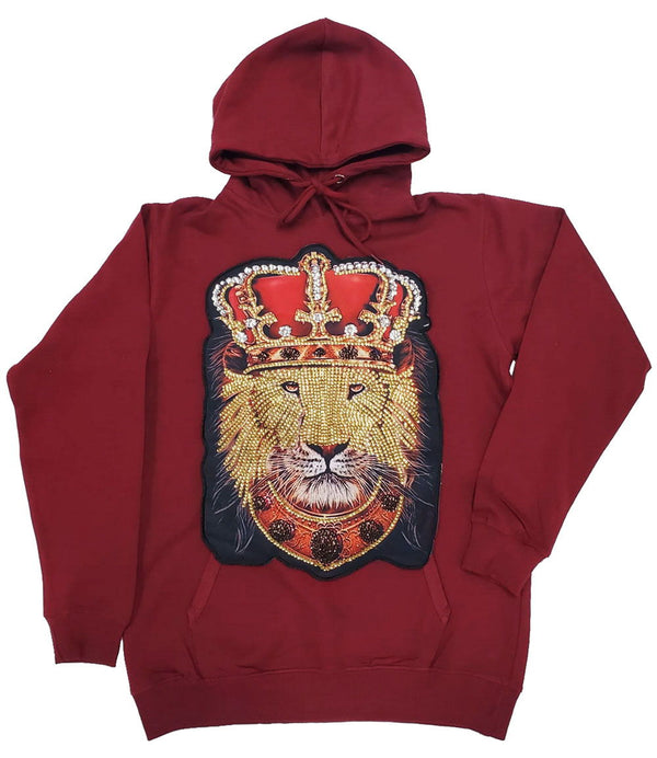 Lion Crown Hand Made Sequin Hoodie - Maroon