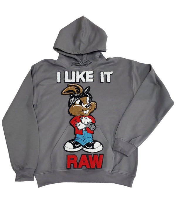 I Like It RAW Chenille Hoodie - Heavy Metal