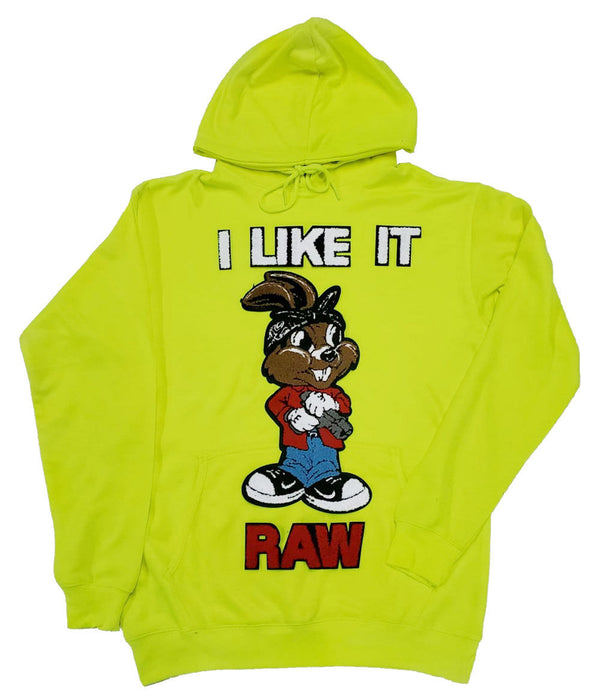 I Like It RAW Chenille Hoodie - Neon Green